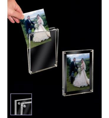 Hanging Transparent Acrylic Photo Frames Plastic Brochure Holders With Led Light