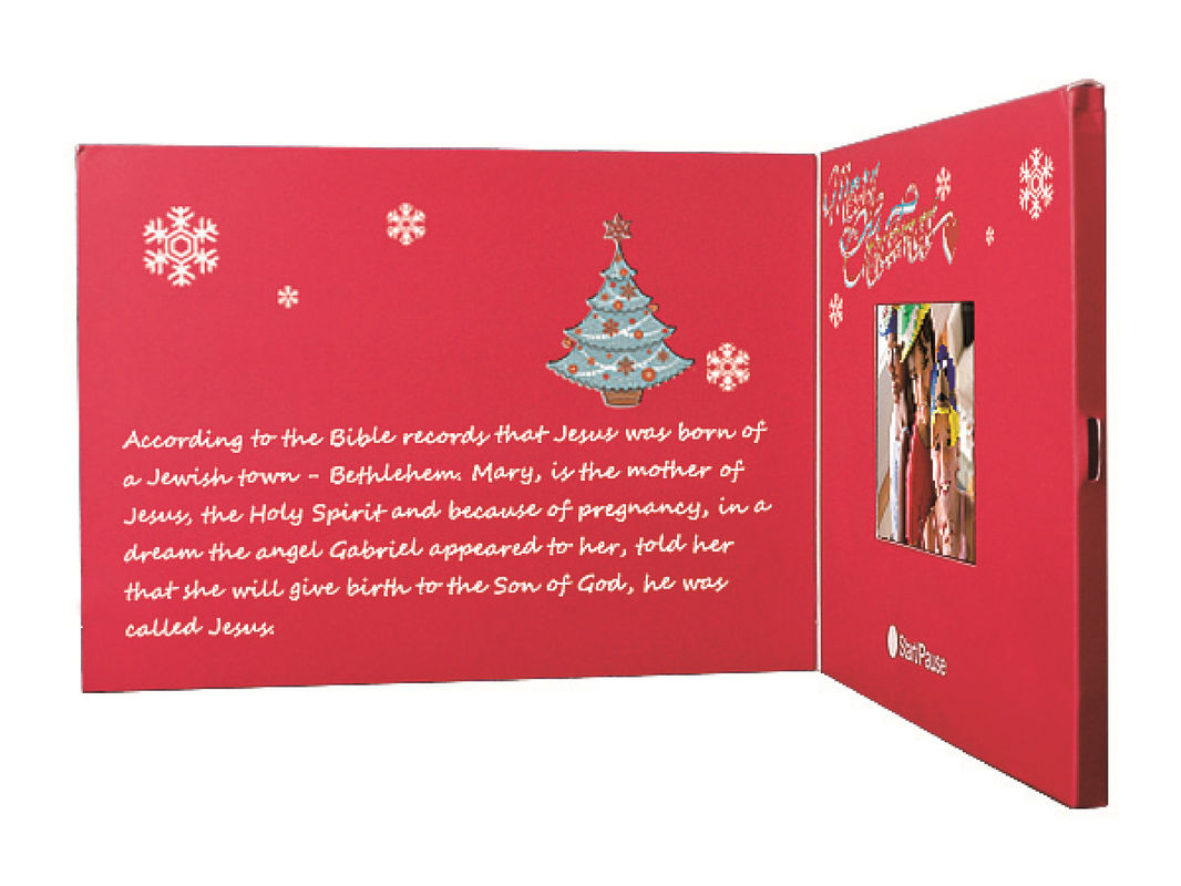 Beautiful Red 2.4 Inch Custom Video Greeting Cards Brochure For Christmas